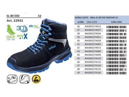 Bezpečnostná členková ESD obuv S2 ATLAS SL 80 ESD