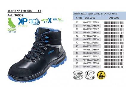 ESD bezpečnostná obuv S3 s bezpečnostnou špičkou ATLAS SL 845 XP BLUE