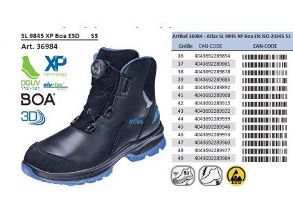 Členková bezpečnostná ESD obuv ATLAS SL 9845 XP Boa ESD