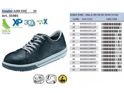 Bezpečnostná ESD obuv s oceľovou špičkou ATLAS Sneaker A105 ESD S3