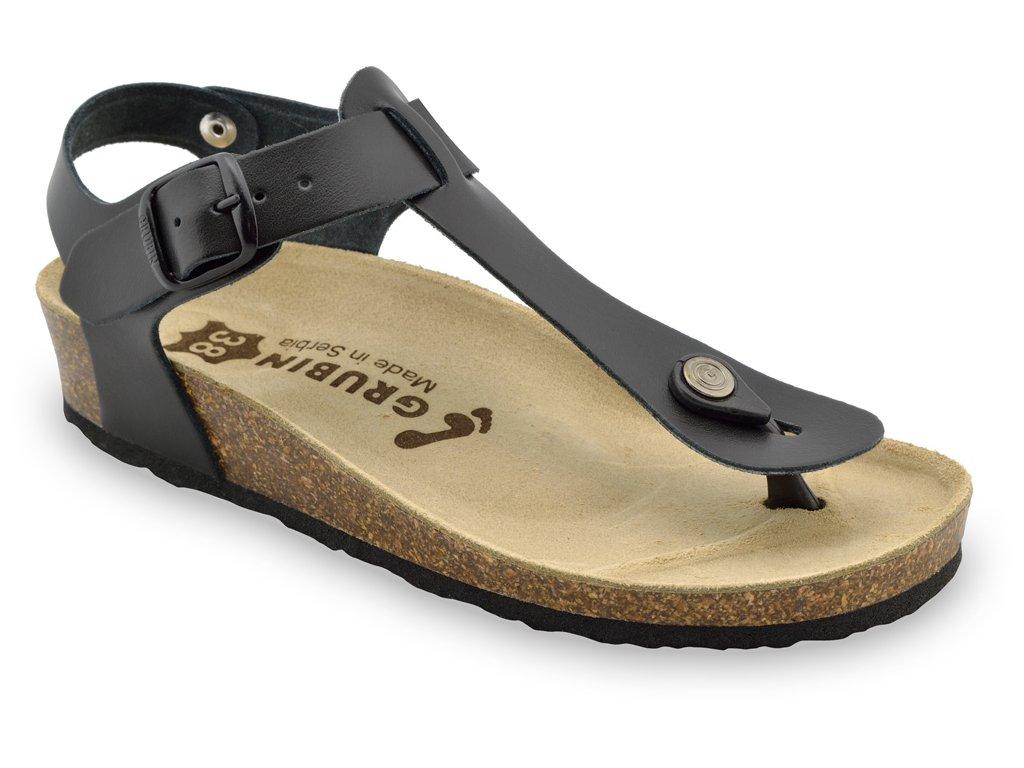 Grubin zdravotní dámská kožená obuv Tobago dámské sandále s oporou palce černé 0953650