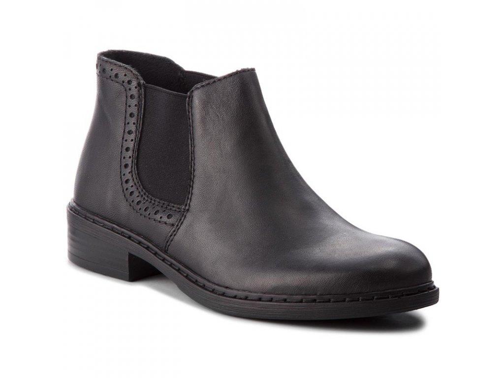 RIEKER dámská kožená obuv kotníková s elastickým prvkem 77584-02
