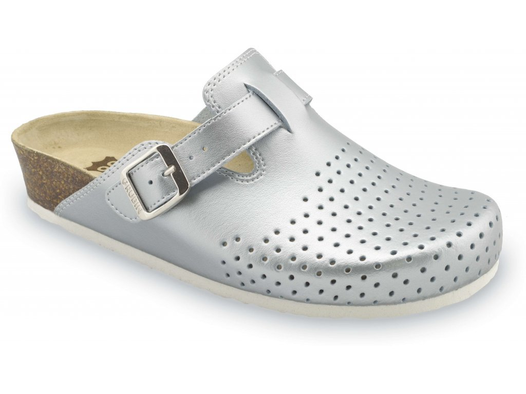 Grubin zdravotní dámská kožená obuv Beograd pantofle uzavřené stříbrná 0133670