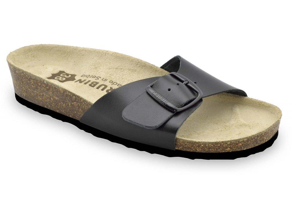 Grubin zdravotní dámská kožená obuv Madrid pantofle černé  0043550