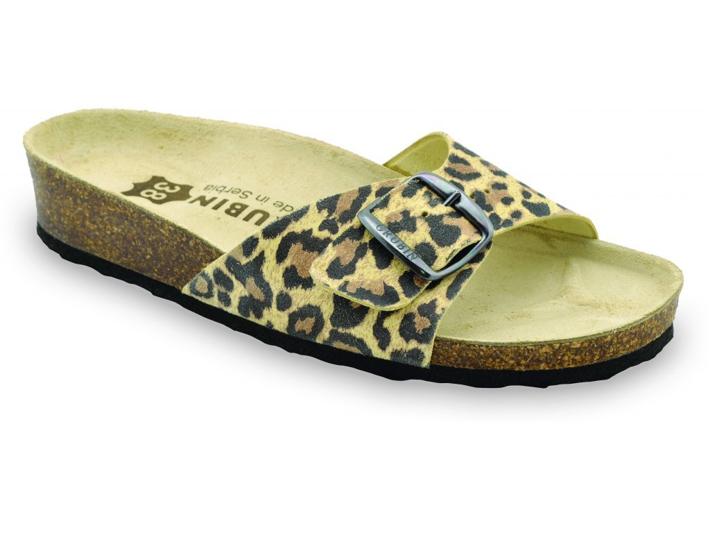 Grubin zdravotní dámská kožená obuv Madrid pantofle tiger 0043550