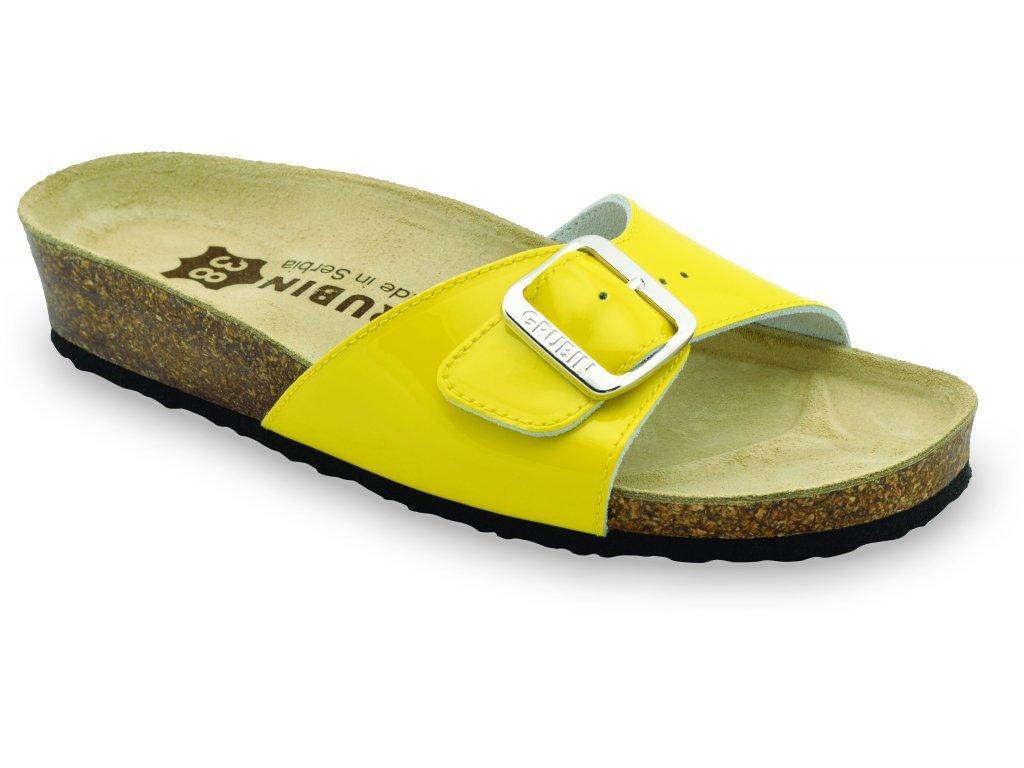 Grubin zdravotní dámská kožená obuv Madrid pantofle žluté 0043570