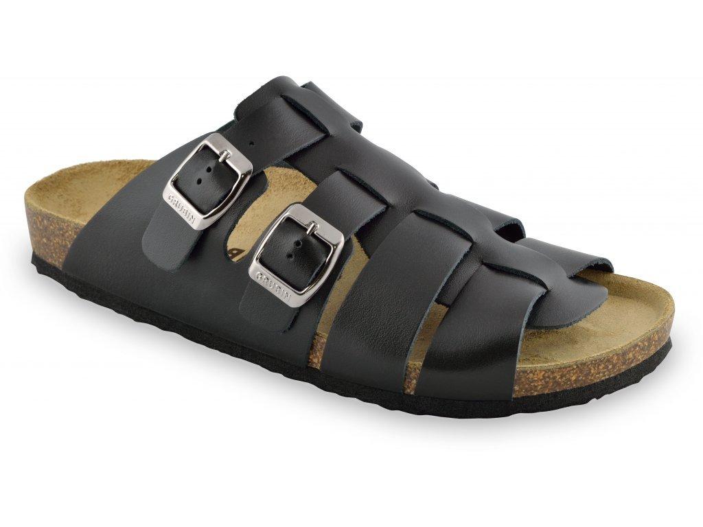 Grubin zdravotní pánská kožená obuv Bahama pantofle černé 0183910