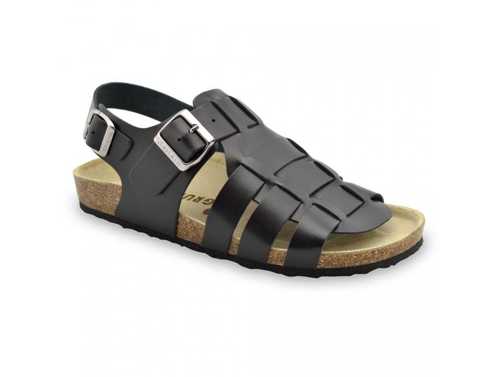 Grubin zdravotní pánská kožená obuv Verona sandále černé 0164010