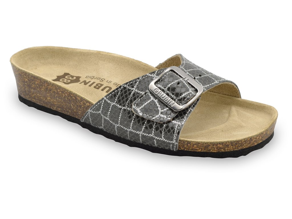 Grubin zdravotní dámská kožená obuv Madrid pantofle šedé 0043510