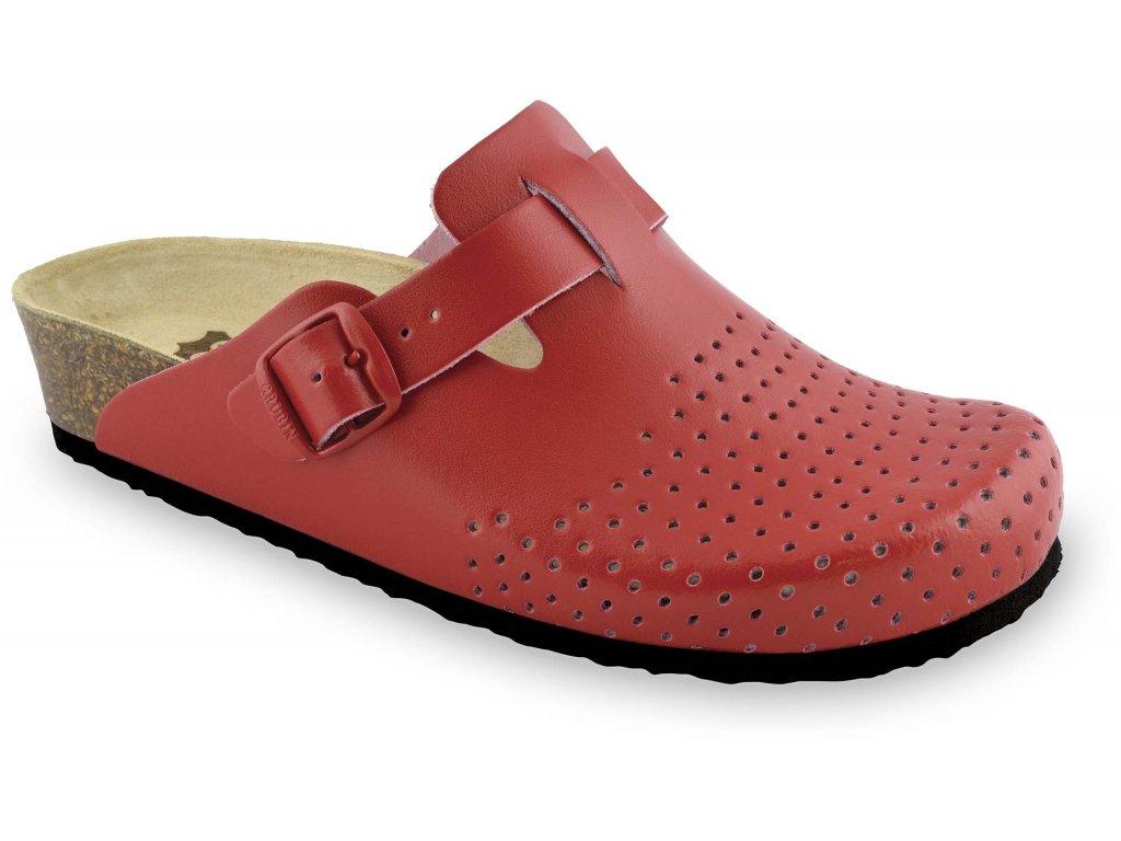 Grubin zdravotní dámská kožená obuv Beograd pantofle uzavřené červená 0133560