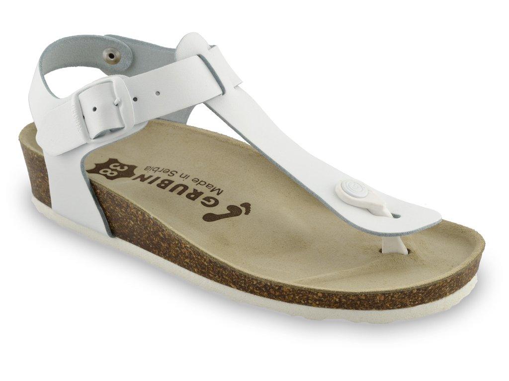 Grubin zdravotní dámská kožená obuv Tobago dámské sandále s oporou palce bílá 0953650