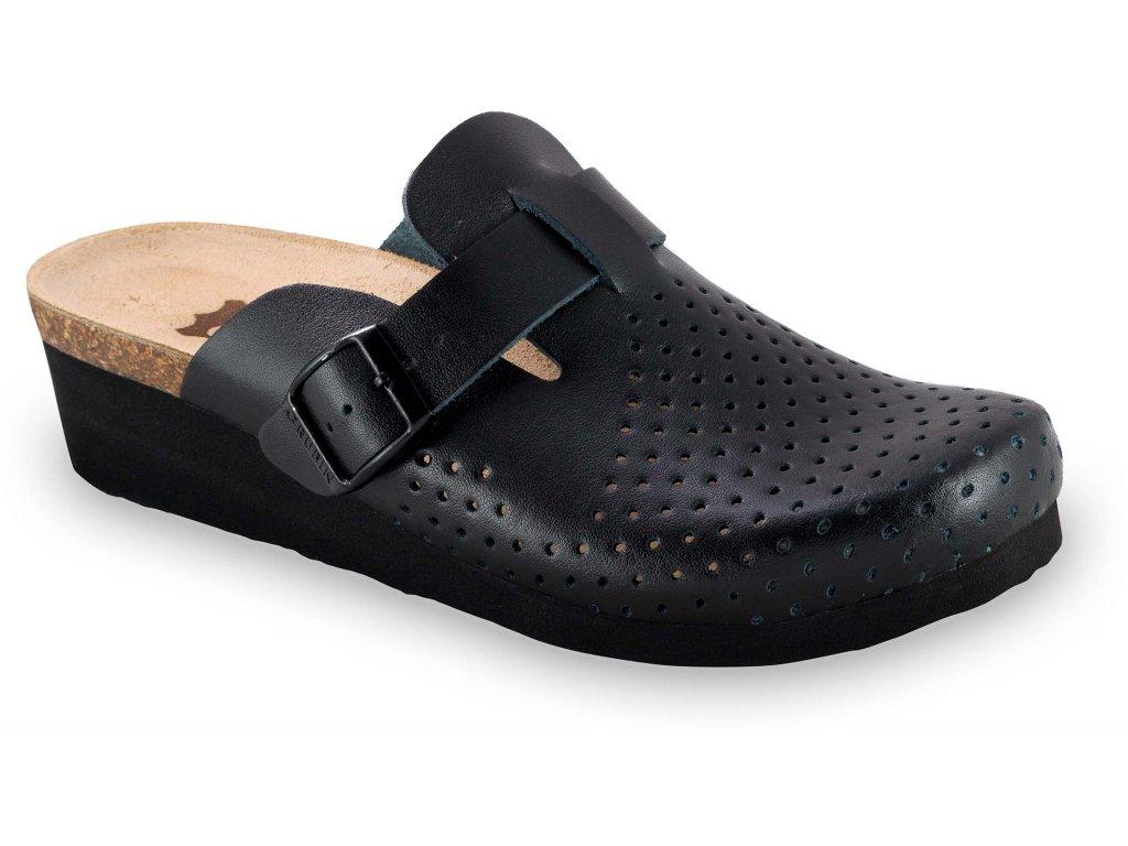 Grubin zdravotní dámská kožená obuv Oxford pantofle uzavřené černé 0853550