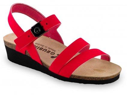 Grubin zdravotní dámská kožená obuv Lucca sandále červené 1263650