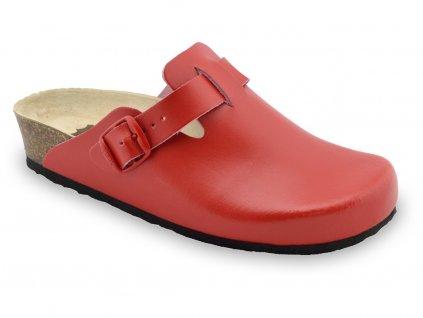 Grubin zdravotní dámská kožená obuv Rim uzavřené pantofle červené 0053580