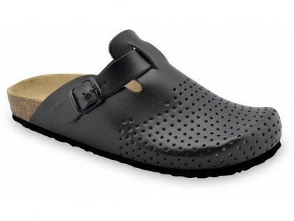 Grubin zdravotní pánská kožená obuv Beograd uzavřené pantofle černé 0134060