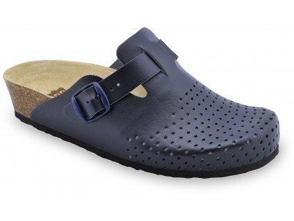 Grubin zdravotní dámská kožená obuv Beograd uzavřené pantofle modré 0133580