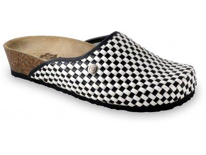 Grubin zdravotní dámská kožená obuv Domino uzavřené pantofle s tvrdým flicem 2703640