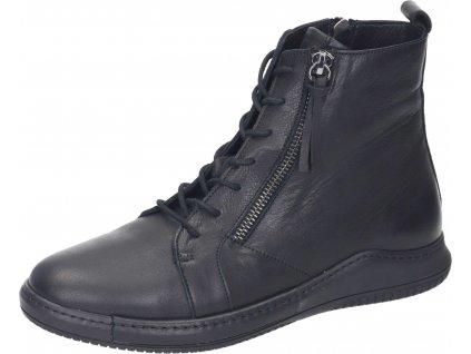 Manitu dámské sneakers kožená obuv kotníková 990043-1 černa