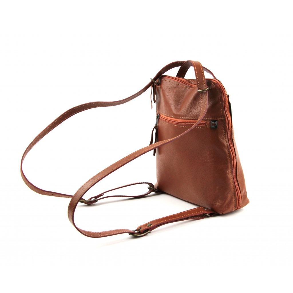 Dámský kožený batoh-kabelka, 21344 koňak