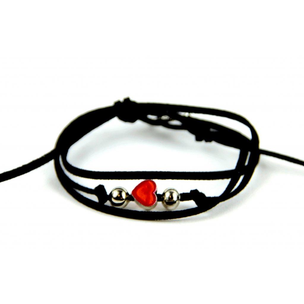 kožený náramek red HEART černý