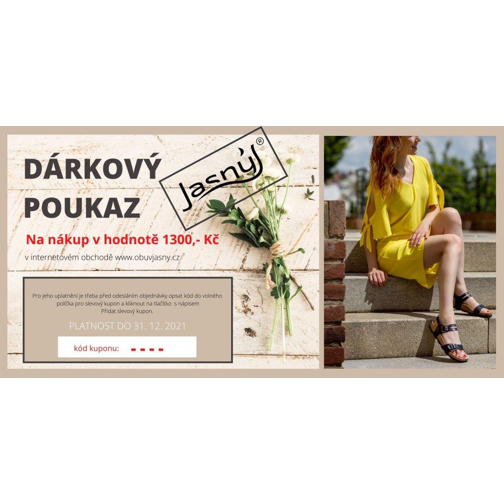 Poukaz lze uplatnit v internetovém obchodě www.obuvjasny.cz