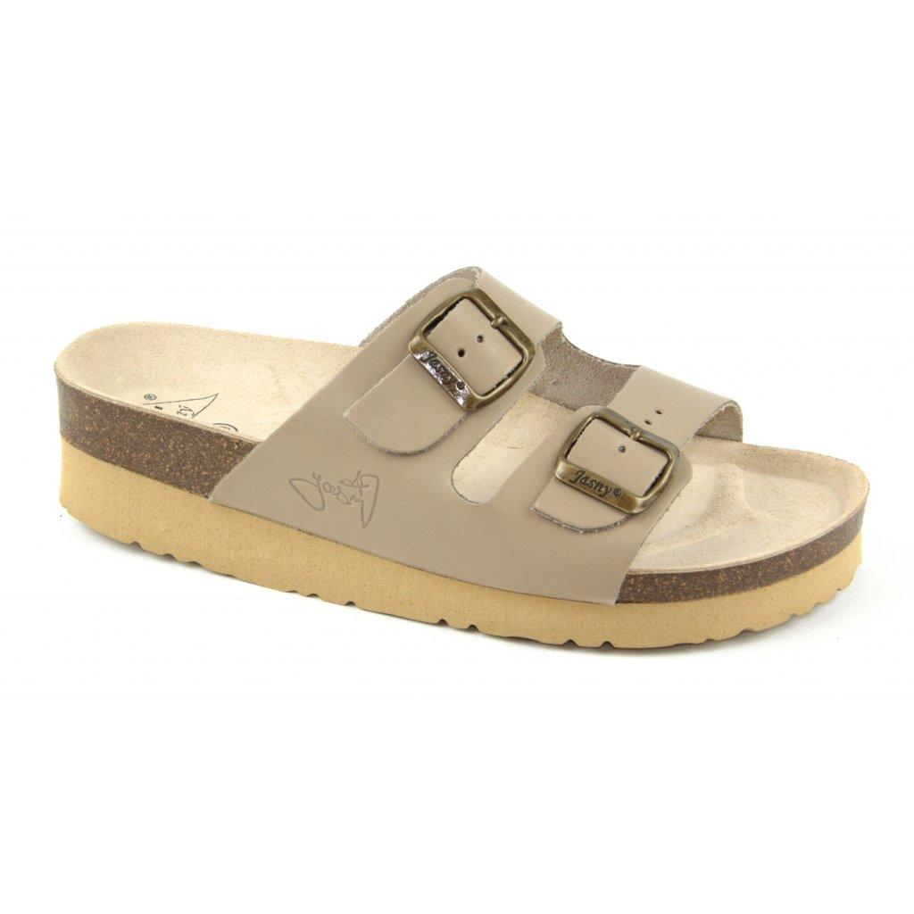 Pantofle na klínku CLASSIC béžové, 2002-PK2-5