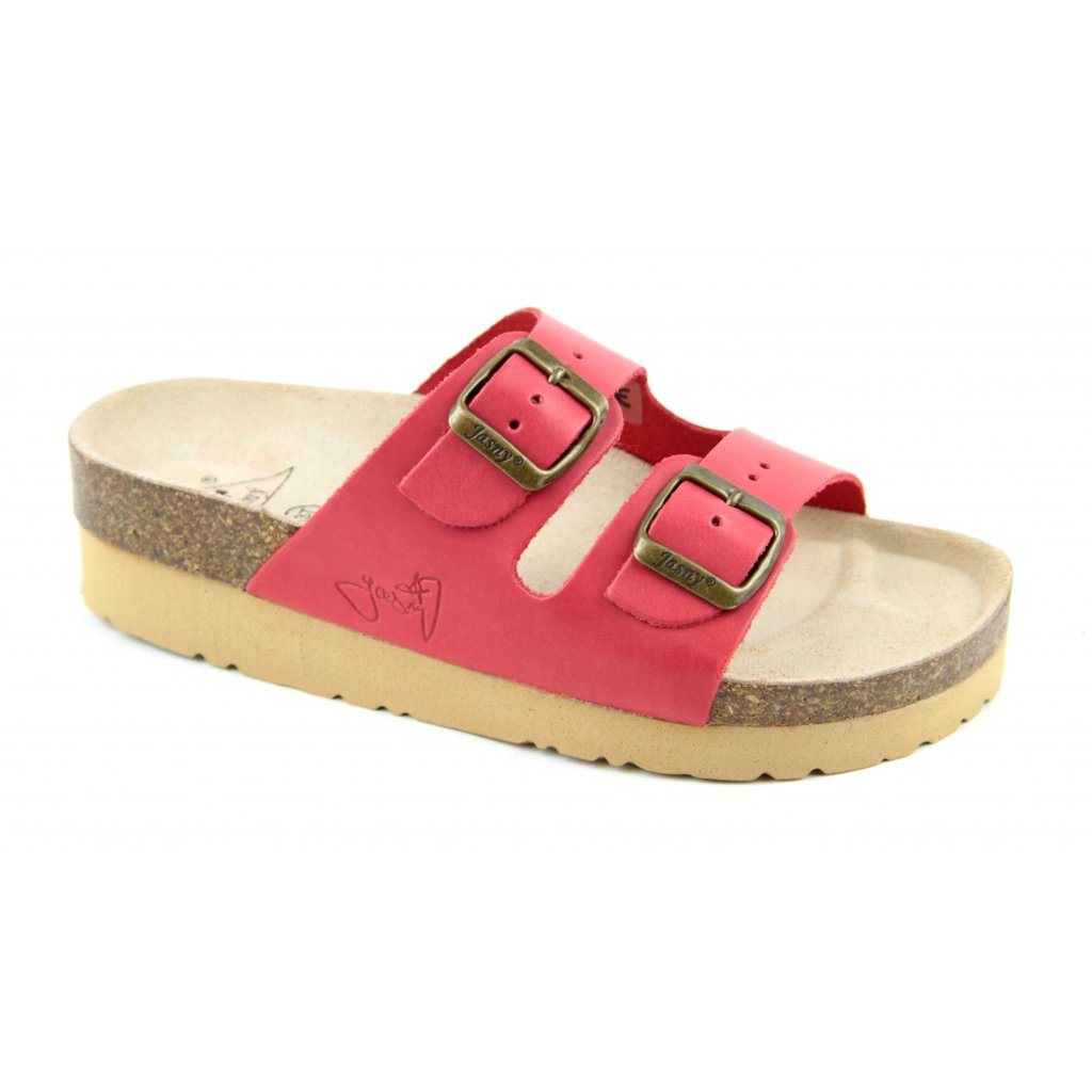 Pantofle na klínku CLASSIC červené, 2002-PK2-4