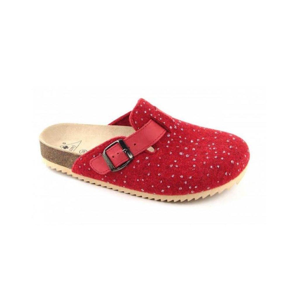 pantofle s plnou špičkou TRENTO FURRY červené strass (Velikost Vel. 41)