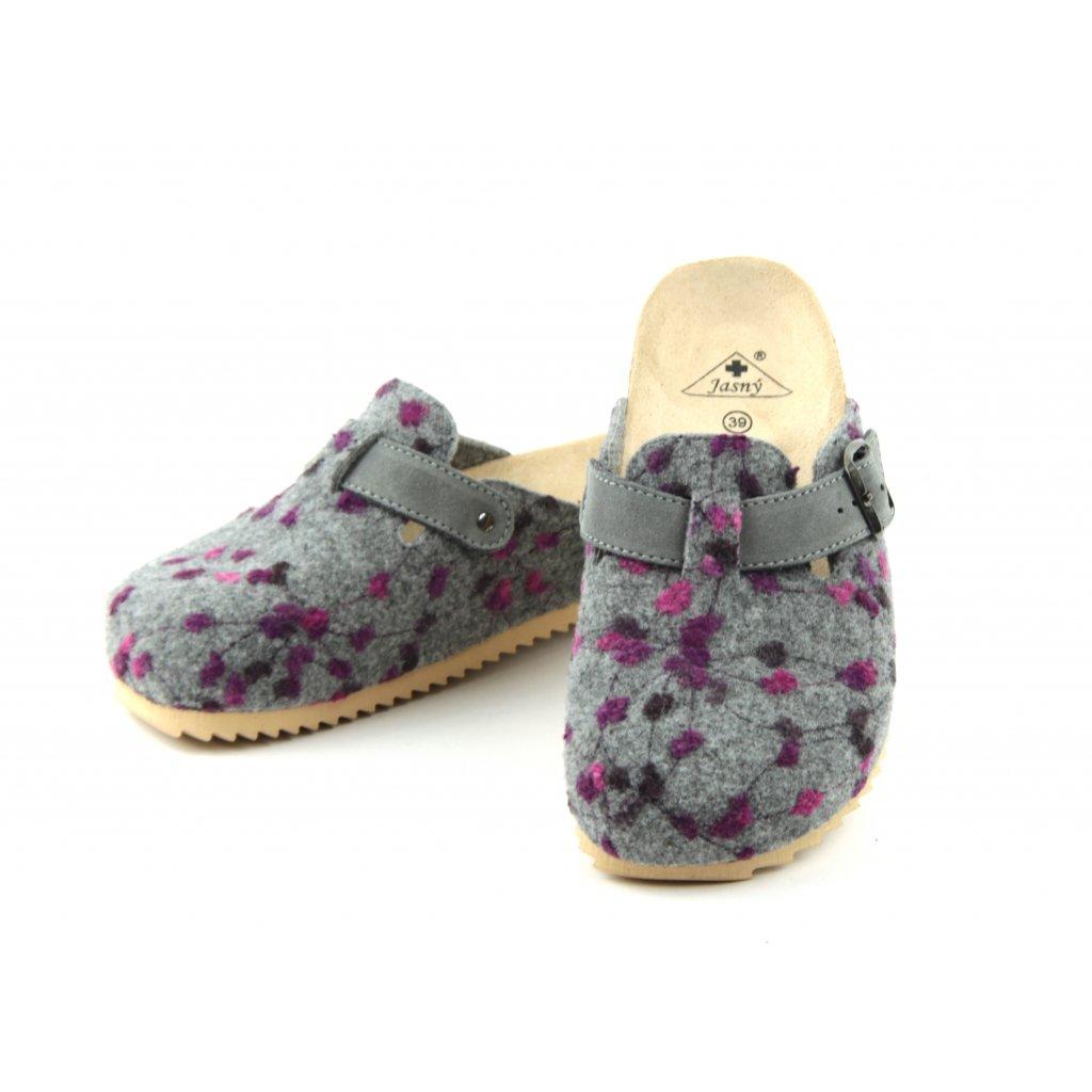 Pantofle TRENTO FURRY šedé puntík