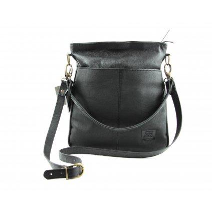 Dámská kožená CROSSBODY kabelka, 57614 černá