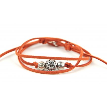 kožený náramek ORNAMENT oranž