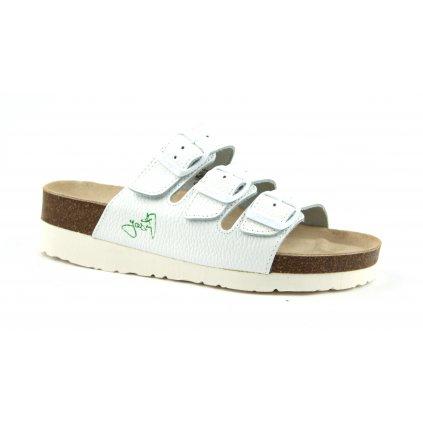 Pantofle na klínku CLASSIC bílé, 2002B-PK3-1