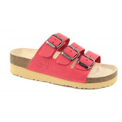 pantofle na klínku 2002/PK3 červené (Velikost Vel. 40)