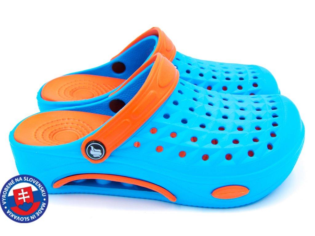 Dámské clogsy FLAMEshoes B-2006 modrá/oranžová