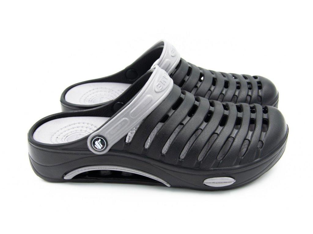 Pánské clogsy FLAMEshoes A-1003 černá/šedá