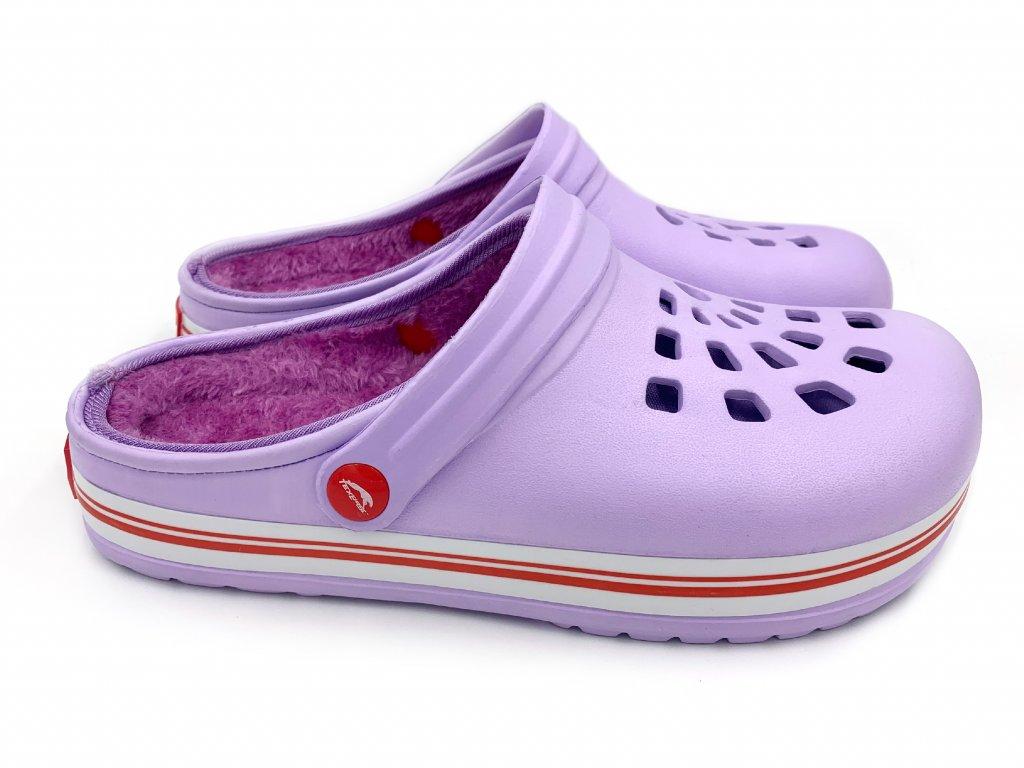 zateplene clogsy pantofel fialove 3B