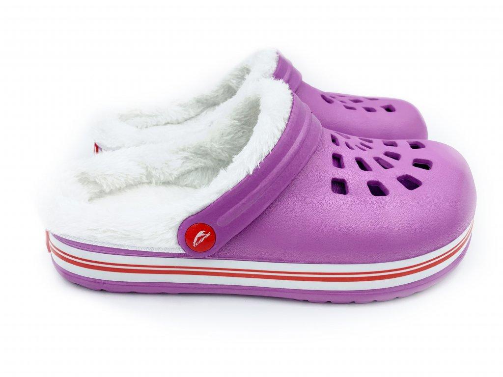 zateplene clogsy pantofel fialove 3A
