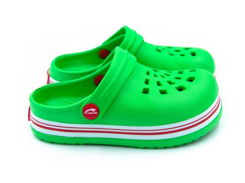 detske pantofle clogsy zelene