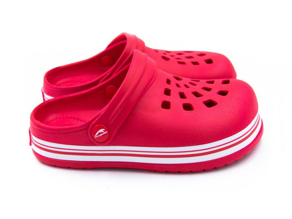 detske pantofle clogsy cervene