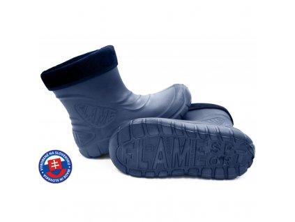 Dětské zateplené boty větší D-3001 FLAMEshoes tm. modré