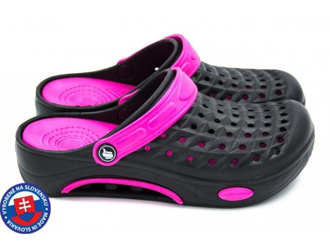 Dámské clogsy FLAMEshoes B-2006 černá/fialová