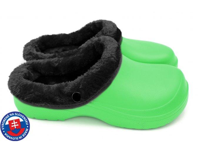 Dámské zateplené clogsy B-2002 FLAMEshoes zeleno-černé