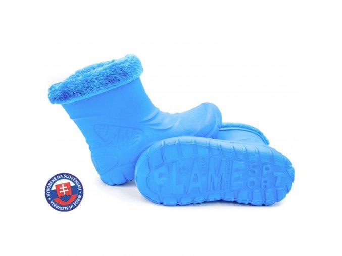 Dětské zateplené boty větší D-3001 FLAMEshoes světle modré