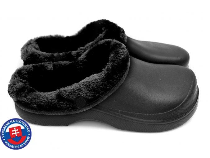 Dámské zateplené clogsy B-2002 FLAMEshoes černé