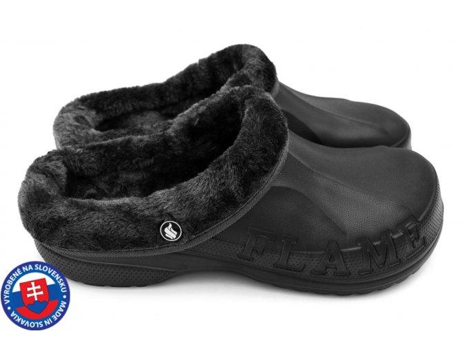 Pánské zateplené clogsy A-1002 FLAMEshoes plné černé