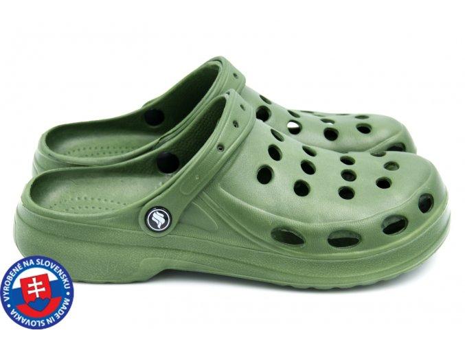 Pánské clogsy FLAMEshoes A-001 khaki