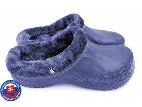 Pánské zateplené clogsy A-1002 FLAMEshoes plné tmavě modré