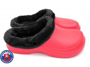 Dámské zateplené clogsy B-2002 FLAMEshoes červeno-černé