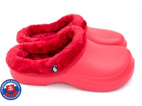 Dámské zateplené clogsy B-2002 FLAMEshoes červeno-červené
