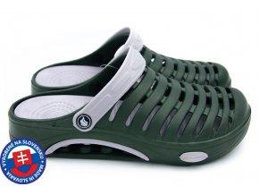 Pánské clogsy FLAMEshoes A-1003 tm. zelená/šedá